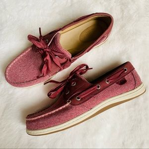 New sperry Koifish  Chambray Boat Shoe wine